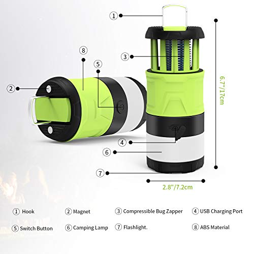 LED Camping Lantern, Bug Zapper Camping Lantern with 2000mAh Rechargeable Battery, Camping Lights with Magnetic Base for Outdoor, Hiking, Home and Car, Lanterns Battery Powered LED Emergency Lighting