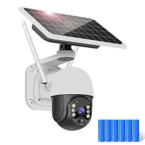 Camara de Vigilancia WiFi Exterior Solar con 15600mAh Batería Recargable 1080P PTZ Cámara de Seguridad sin Cables 355°Pan, Detección de Movimiento, Visión Nocturna, IP Impermeable