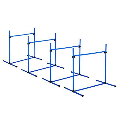 Pawhut Agility Hürdenset Slalom Stangen Hunde Training Set 4 x Hürden, Kunststoff, Blau, 95x65x95cm