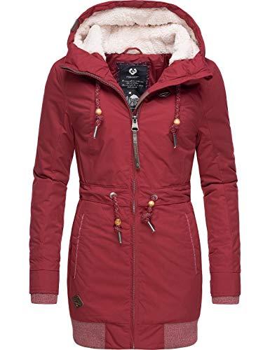Ragwear Damen Winterjacke Kurzmantel Parka mit Kapuze Zirrcon Rot Gr. XL