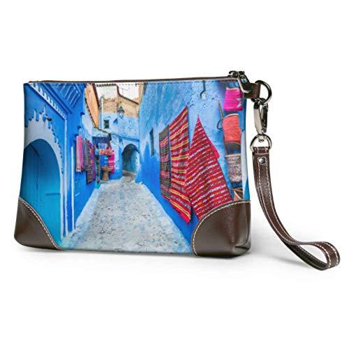 Ahdyr Bolso de mano de cuero suave impermeable para niñas, bolso de mano estrecho de la calle Chefchaouen, ciudad azul de Marruecos, bolso de mano de cuero con cremallera para mujeres y niñas