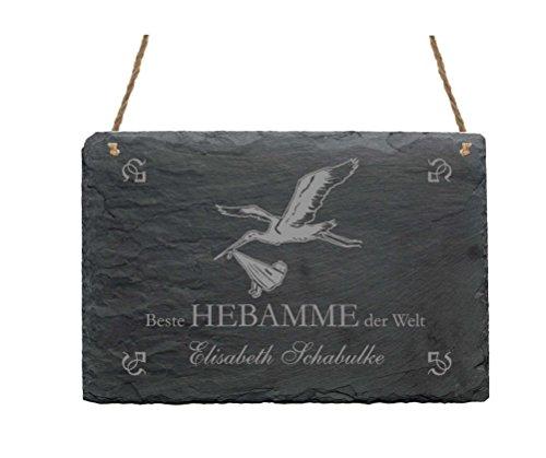 Schiefertafel « BESTE HEBAMME DER WELT » Mit persönlichem Namen - Größe ca. 22 x 16 cm - Türschild Schild mit Storch Motiv - Geburt Kinder Klapperstorch