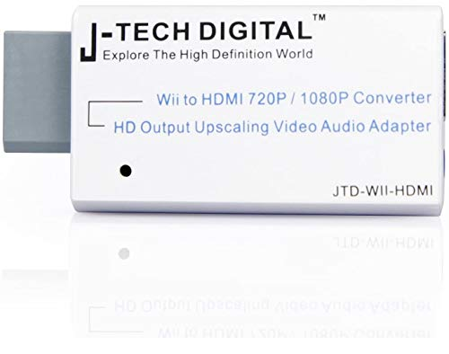 J-Tech Digital JTD-WII-HDMI Wii to HDMI 720P/1080P Converter HD Output Upscaling Video/Audio Adapter White