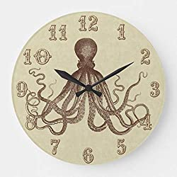 TattyaKoushi 12 by 12-Inch Wooden Wall Clock, Vintage Brown Octopus Beach House Nautical Large Clock, Living Room Clock, Home Decor Clock