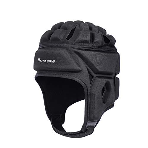BESPORTBLE Gepolsterte Kopfbedeckung Rugby Helm Fußball Scrum Cap Fußball Kopfschutz Schutzausrüstung für Erwachsene Groß Schwarz