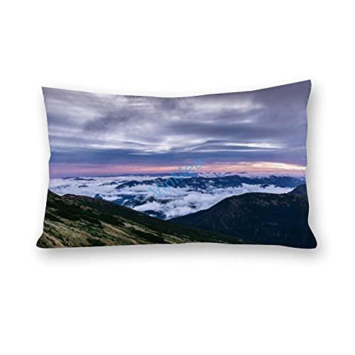 Funda de almohada impresa con nubes, algodón y poliéster, para sofá, sala de estar, funda de almohada de 30 x 60,9 cm