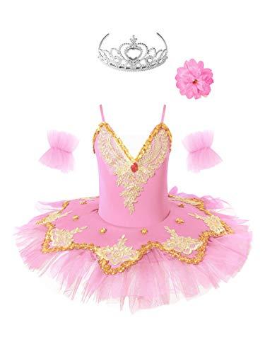 IEFIEL Nias Vestido Maillot de Danza Ballet Maillot Flores Bordados con Falda Tut Brillante para Gimnasia Ritmica Disfraz Bailarn de Actuaciones Rosa 7-8 aos