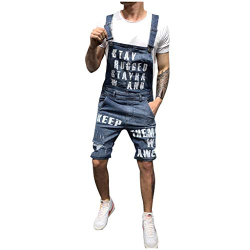 KEERADS Salopette Jeans Hommme Short Slim Grande Taille