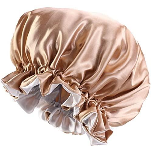 TOSSPER 1pc Sólido Satén De Mujeres del Capo De Mancha Sleep Cap Sedoso Grande del Capo para Señora Turbante Sombrero del Abrigo De Pelo De Los Accesorios
