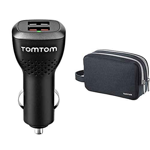TomTom Cargador Dual de Alta Velocidad 2.4 A + Funda de Viaje Universal para Todos los navegadores de 4.3, 5 y 6 Pulgadas