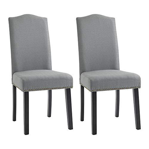 HOMCOM Esszimmerstühle 2er Set Küchenstuhl mit Rückenlehne, Sitzfläche aus Leinen, Schaumstoff, E1 MDF Kautschukholz, Grau, 47x63,5x103,5 cm