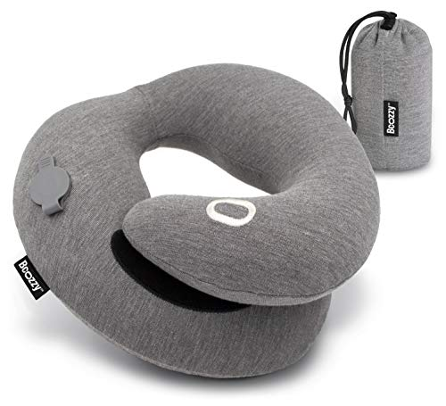 BCOZZY Inflatable Travel Pillow, Patented Neck & Chin Support for Comfortable Sleep on Airplane & Car, Compact & Lightweight, Machine Washable Cover, Matching Luxury Bag. Adult, Gray