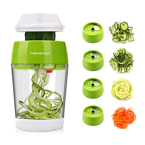 MENNYO Vegetable Spiralizer 4 in 1, Spiraliser Hand Held Mandolin Vegetable Slicer with Container, Vegetable Cutter Food Chopper Vegetable Grater for Courgette, Zucchini, Cucumber, Carrots
