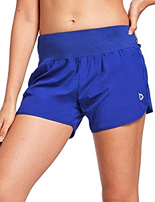 "BALEAF Women's 4"" High Waist Active Lined Workout Shorts Tummy Control Gym Fitness Tennis Shorts Activewear Royal Blue L"