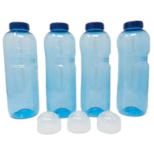 SAXONICA Trinkflasche aus Tritan 4 x 1 Liter Plus 3 x Sportdeckel Flip-Top ohne Weichmacher BPA frei (Bisphenol A frei)