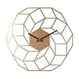 Teakpeak Reloj de Pared Metalico Reloj de Pared Vintage Silencioso Dorado Grande Reloj de Pared sin Número (40cm)