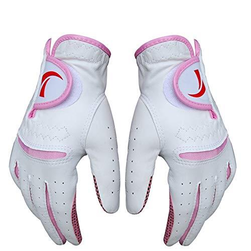 SHAOXI-golf Schutzhandschuhe Paket mit 1 para Frauen golfhandschuh für Regen heißes nasses Wetter Damen Leder rutschfeste golfhandschuhe, Einfach zu bedienen und langlebig (Farbe : Rosa, Größe : 21)
