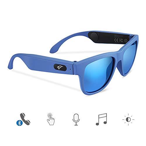 FPTB Occhiali Bluetooth a conduzione ossea,Cuffie Occhiali da Sole polarizzati Telaio per miopia,Occhiali da Guida,Cuffie Impermeabili Wireless per Musica Stereo con Microfono per iOS/Android,Blu