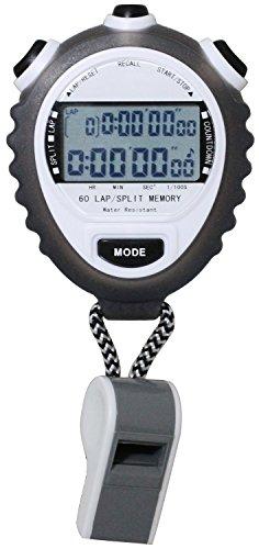 [クレファー]CREPHA ストップウォッチ ラップ メモリー 操作音 オフ 機能 ホイッスル 付き ホワイト TEV-4026-WT