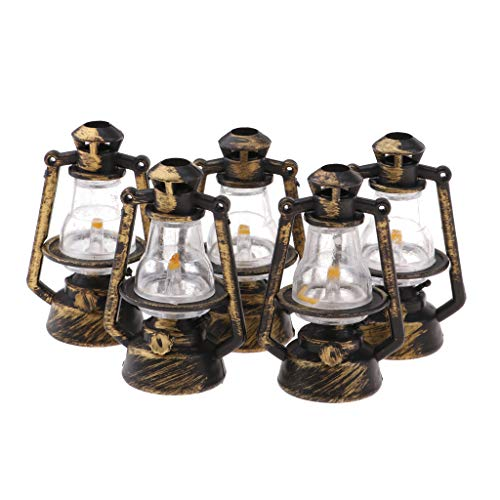 Unbekannt 3 Stücke 1/12 Puppenhaus Miniatur Bierfass Modell Raum Zubehör - Petroleumlampe - 5pcs
