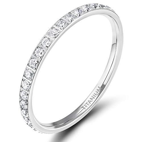 TIGRADE 2mm Women Titanium Eternity Ring Cubic Zirconia Anniversary Wedding Engagement Band Size 3-13.5 (Silver, 6)
