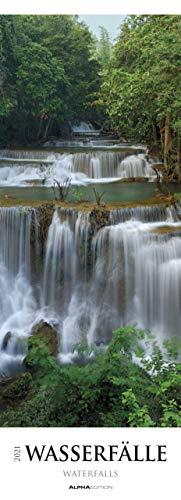 Wasserfälle 2021 - Streifenkalender XXL 25x69 cm - Waterfalls - Naturkalender - Bild-Kalender - Wand-Kalender - Alpha Edition