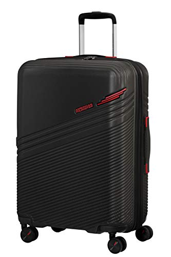 American Tourister Triple Trace - Spinner M - Maleta expansible, 67 cm, 69,5/79,5 L, color negro y rojo