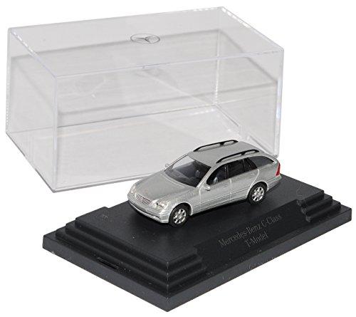 Busch Mercedes-Benz C-Klasse W203 T-Modell Kombi Silber 2000-2007 H0 1/87 Modell Auto mit individiuellem Wunschkennzeichen