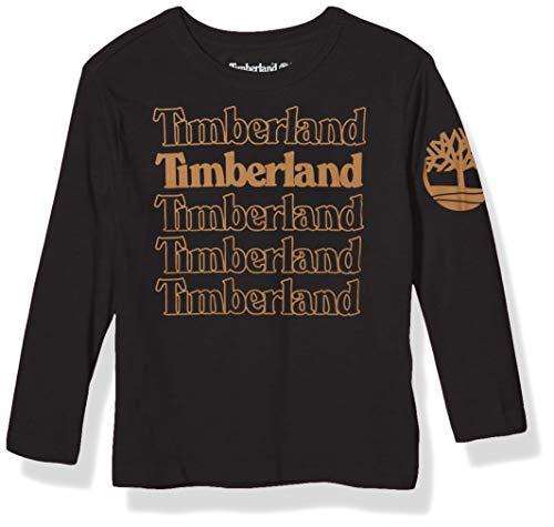 Timberland Jungen Long Sleeve Logo Graphic Tee Shirt Hemd, schwarz, Groß
