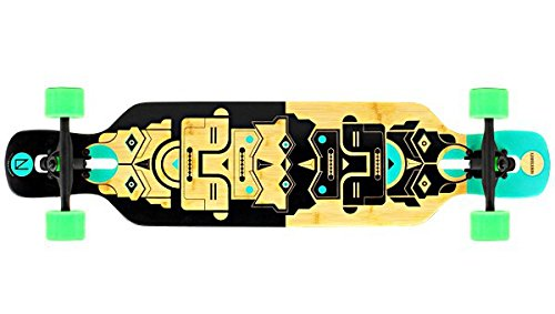 NINETYSIXTY Drop Through Longboard Bambus / Fiberglas - Dropthrough Long Board mit koston Kugellagern, Flex Loaded:Flex 1
