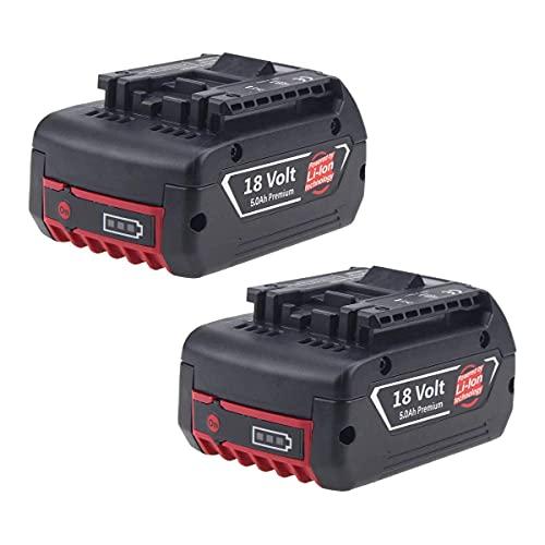Moticett 2X 5.0Ah 18V BAT610G Reemplazo batería para Bosch. Batería para Bosch BAT609G, BAT609, BAT618, BAT618G, BAT610G, 2607336092 2607336236 2607336169 2607336170 2607336235 2607336091