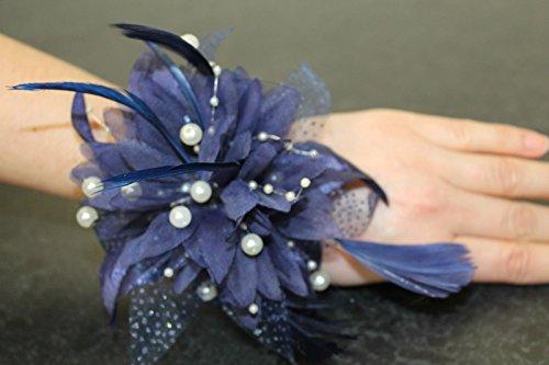 The Good Life Magnifique Fleur et Plumes Corsage de Poignet Bleu pour Les Mariages Races et Tous Vos événements spéciaux