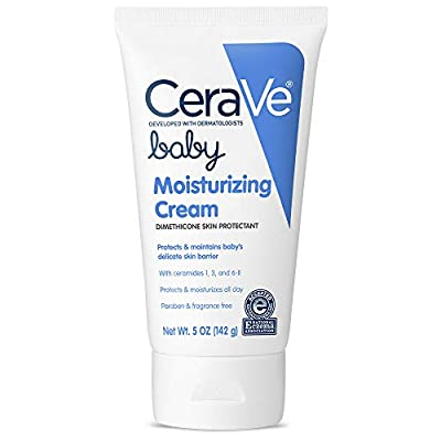 CeraVe Baby Cream | 5 Ounce | Gentle Moisturizing Cream with Hyaluronic Acid | Paraben, Sulfate, & Fragrance Free
