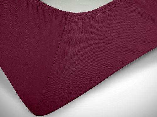 npluseins klassisches Jersey Spannbetttuch – erhältlich in 34 modernen Farben und 6 verschiedenen Größen – 100% Baumwolle, 70 x 140 cm, pflaume - 6