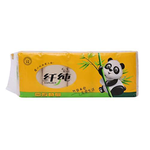 Toilettenpapier Ohne Plastik 4 Lagig Papiertücher Wahre Farbe von Bambuspulpe Rollenpapier Haushaltsholzrolle Klopapier 10 Rollen 12 Rollen 14 Rollen