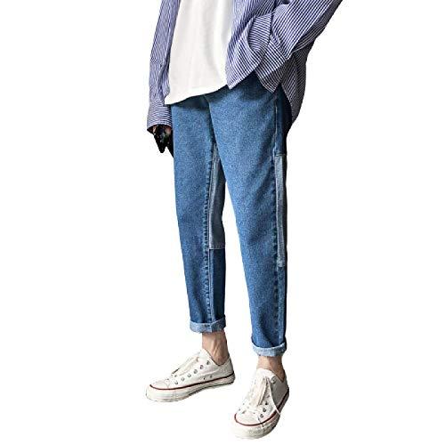 Auténticos Pantalones Vaqueros Rectos para Hombre, otoño, Coreano, Ajustado, con combinación de Colores, Calzado Informal, Pantalones de Todo fósforo 34