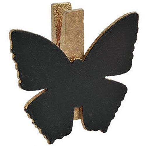 SANTEX 3337-3, Sachet de 6 Papillons Ardoise sur pince, or