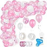 Ballon Girlande Ballonbogen Kit, 5m lang 110 Stück rosa Weiß Pastell Rosa Pailletten Luftballons Pack Bogen, für Mädchen Damen Party Feier Geburtstag Baby Dusche Hochzeit Dekorationen