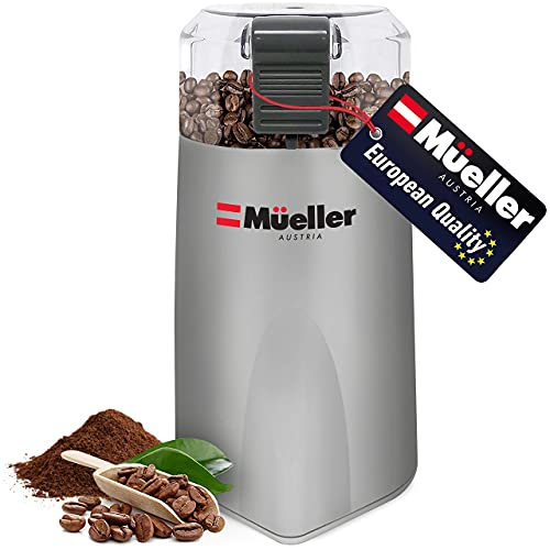 Mueller Austria HyperGrind Precision Electric Spice/Coffee Grinder Mill with Large Grinding Capacity and HD Motor also for Spices, Herbs, Nuts, Grains, Grey