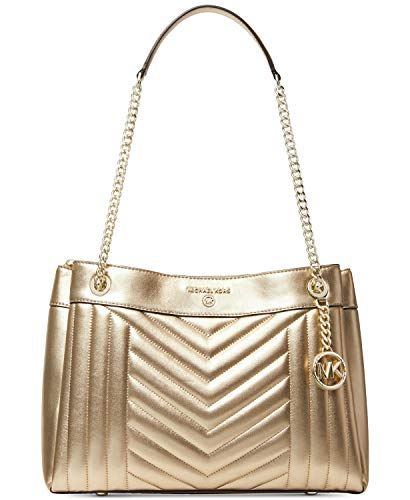 """Pale Gold metallic leather w/ quilted """"M"""" pattern design. Exterior back and front snap pockets. Golden hardware. Center zip fastening. 11"""" double chain and leather straps drop. Interior back zip and slip pockets, 4 front slip pockets. 14""""(L) X 9.5""""(H..."""