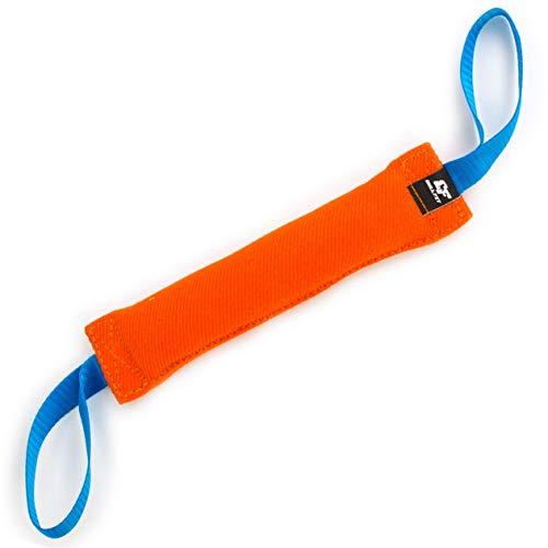 Bull Fit Beisswurst für Hunde, 30 cm, mit Zwei Schlaufen - Sehr Robustes Hundespielzeug zum K9 Training, Tauziehen und Zerrspiele mit Hund - Aus hochwertigem Baumwolle-Nylon handgefertigt (Orange)