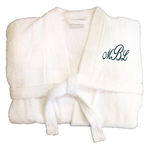 Key Your Spirit KYS Personalized Embroidered Terry Robe Large White