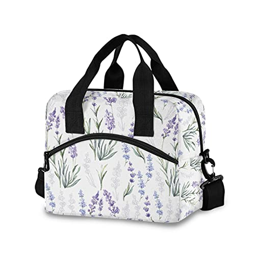 Purple Lavender Flowers Lunch Bag with Shoulder Strap for Women Men Insulated Lunch Box Tote Bags Water-resistant Cooler Bag for Office Work Picnic Beach (11x7x9 Inch)