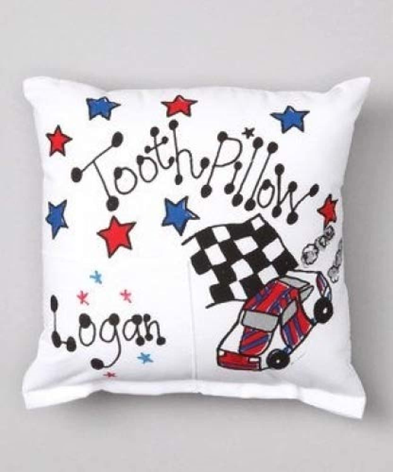 Bunnies and Bows Personalized Tooth Fairy Pillow  Race Car  6.5  x 6.5  x 2   Handmade in USA