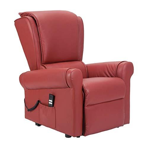 Sillón de relax eléctrico con 2 mots, reclinable, asiento indeformable, montado para personas con discapacidad, seguridad CE médica, 19% – Sillón Anita-2M-PERED rojo piel