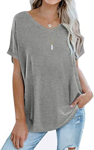 Sousuoty Vneck Tshirt Women Sexy Shorts Sleeve Loose Fitting Batwing Tops for Leggings Gray product image