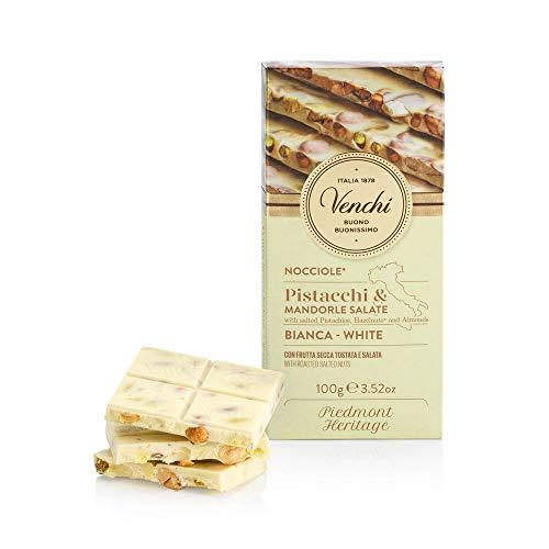 Venchi Tavoletta di Cioccolato Bianco Salata, 100g - Cioccolato Bianco con Nocciole, Pistacchi e Mandorle Salati -Senza Glutine