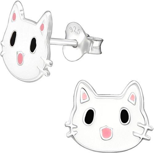 JAYARE - Orecchini da bambina a forma di gattino, in argento Sterling 925, colore: rosa