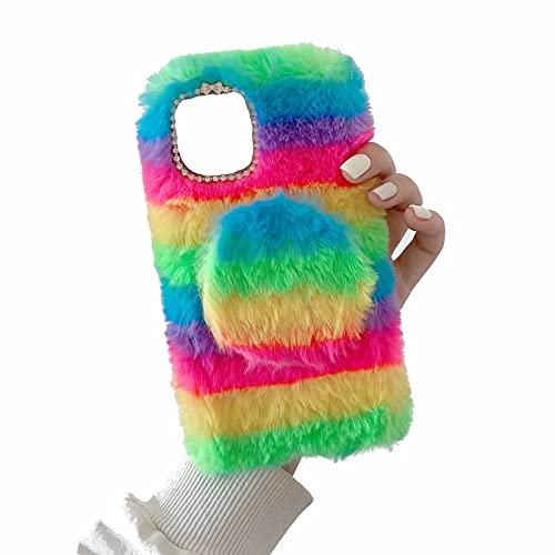 Miagon Coloré Peluche Fourrure Coque pour Samsung Galaxy S10 Plus,Kawaii Étui de Protection Hiver Chaud Souple Poilu Doux Housse Cover avec Amovible Miroir