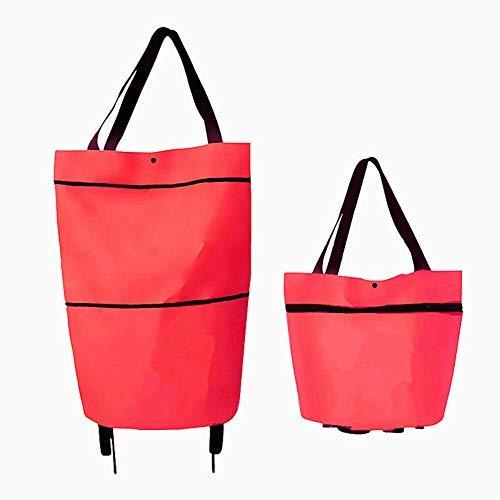 折り畳み式 ショッピングキャリー 収納袋食料品の買い物袋ショッピングバッグ折りたたみ 大容量キャリーカート 荷重5KG 2輪キャスター付く お買い物に便利 お年寄り 主婦 プレゼント (赤, OneSize)